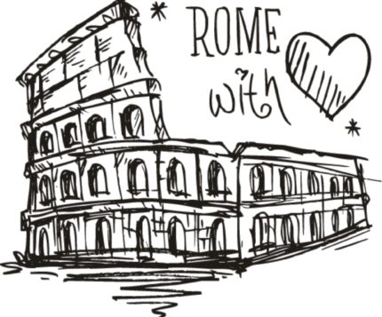27880453 - sketch colosseum rome with love